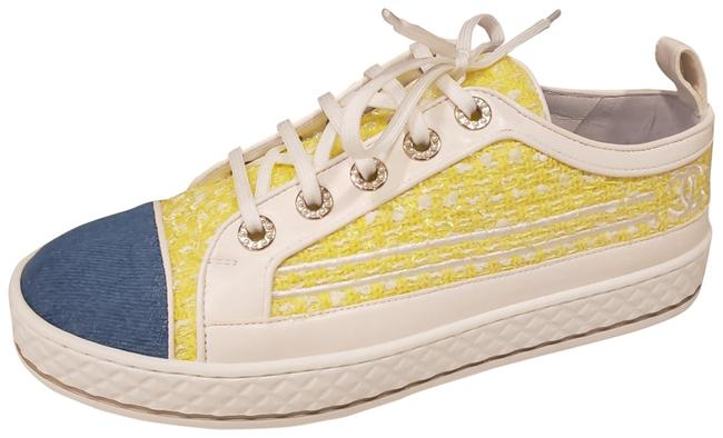 Item - Yellow/White/Blue 19s Tweed Denim Lace Up Flat Low Top Sneakers Size EU 38.5 (Approx. US 8.5) Regular (M, B)