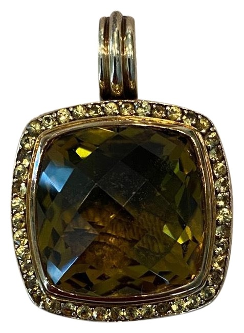 Item - Yellow Gold Green Citrine Yellow Sapphire Sterling Silver 18k Olive 20mm Albion Enhancer Pendant