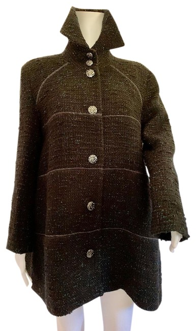 Item - Black Multi Color Jade Wool Blend Boucle A Line Linear Piping Detail Jacket Blazer Size 8 (M)
