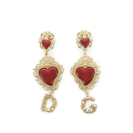 Preload https://img-static.tradesy.com/item/27734978/dolce-and-gabbana-gold-red-double-heart-drop-brass-with-enamel-earrings-0-0-540-540.jpg
