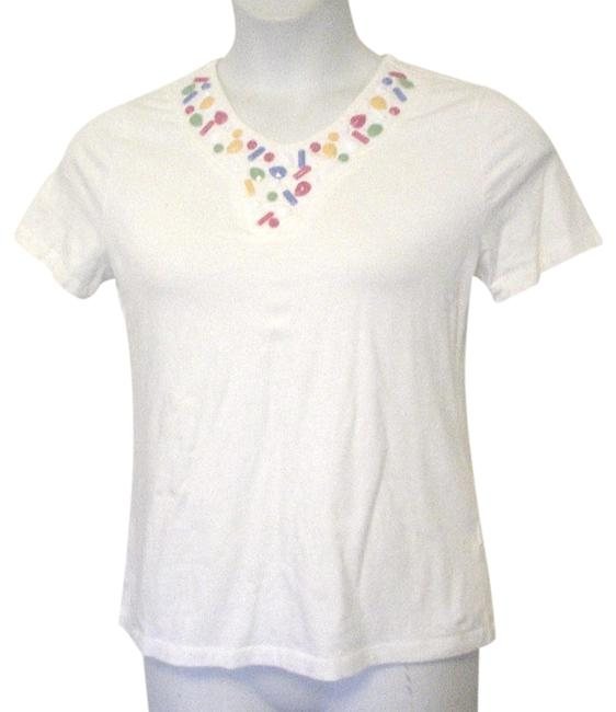 Item - White Colorful Beaded Yoke Sleeve Pm Tee Shirt Size 8 (M)