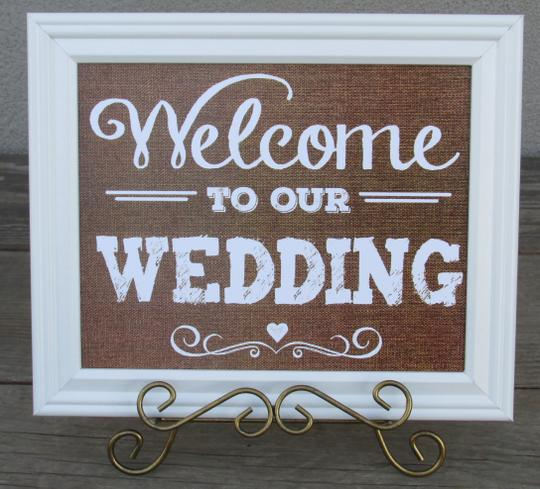 Rustic Country Burlap Look Framed Wedding Signs Set Of 4 Signs-really Cute Set!