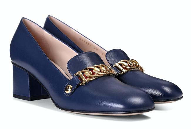 Item - Blue Sylvie Leather Gold Chain Red Web Block Mid Heel Mule Loafer Pumps Size EU 39.5 (Approx. US 9.5) Regular (M, B)