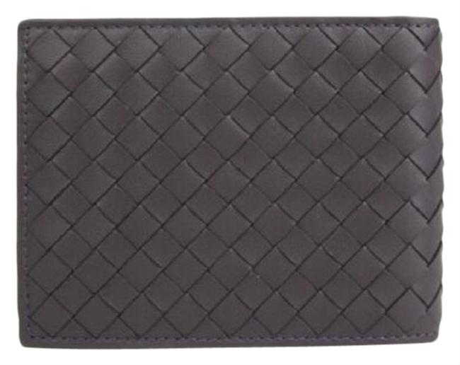 Item - Gray Leather Intercciaco Woven Bifold Wallet