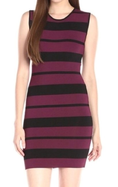 Item - Burgundy and Black Kailee Striped Bodycon Short Casual Dress Size 4 (S)