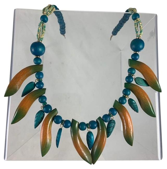 Item - Blue/Brown Wood Banana Turquoise Bead Necklace