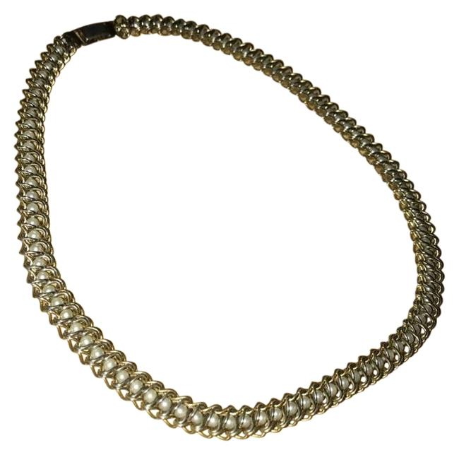 Item - Gold/White Petite Pearl Braided Chain Link Choker Necklace