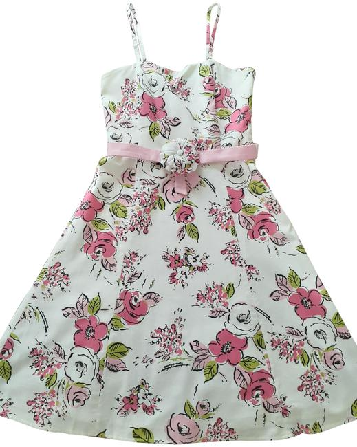 Item - Pink White Summer Collection Mid-length Work/Office Dress Size 4 (S)