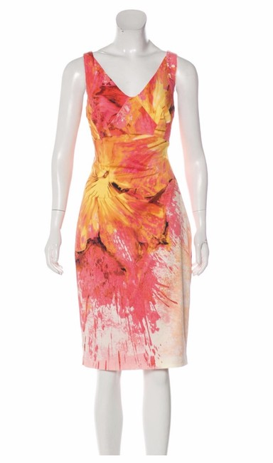 Item - Coral / Pink/Yellow /Ivory Dv215 / S15s Floral Abstract Short Cocktail Dress Size 8 (M)
