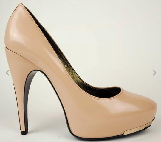 Lanvin Nude With Gold Leather Pumps