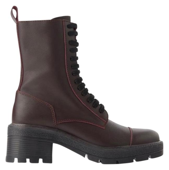 Item - Burgundy Combat Lug Soles Laced Leather Ankle 6.5 Usa Boots/Booties Size EU 37 (Approx. US 7) Regular (M, B)