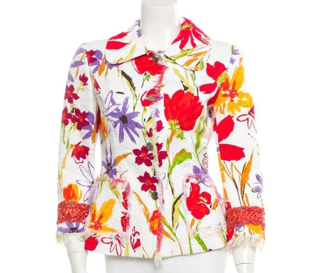 Item - White and Multi Color Floral Printed Jacket Size 8 (M)