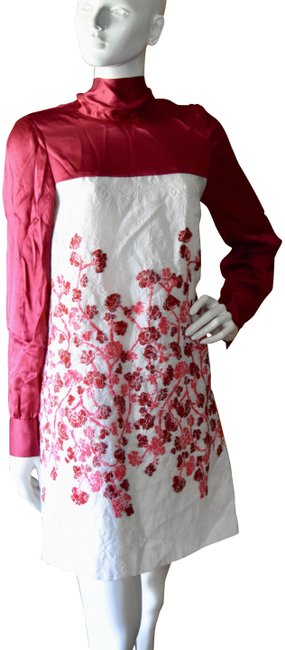 Item - Red and White Haute Couture Runway Lace Embroidered Short Cocktail Dress Size 4 (S)