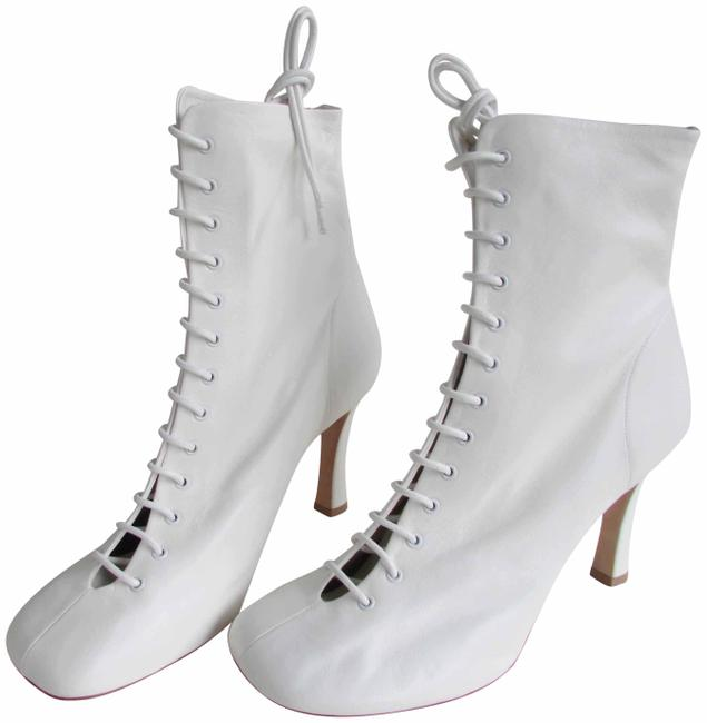 Item - Optic White Leather Laced Glove Boots/Booties Size EU 40 (Approx. US 10) Regular (M, B)