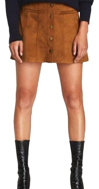 Item - Brown Tan Faux Suede Down Skirt Size 12 (L, 32, 33)