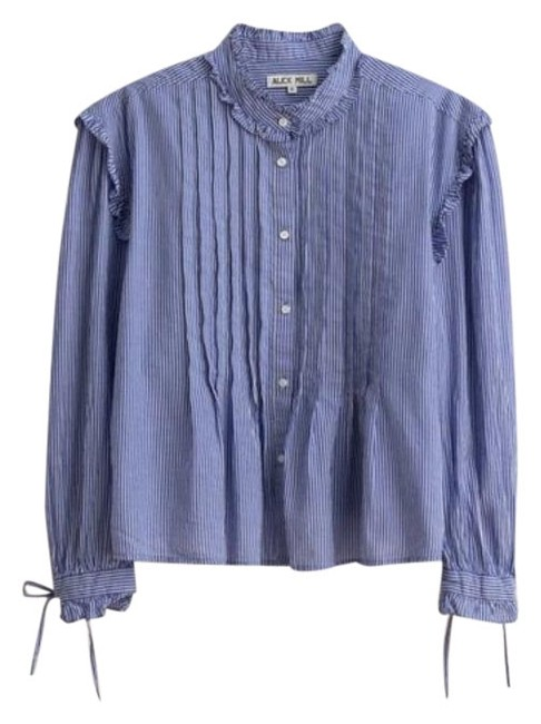 Item - Blue White Pleated Ruffle In Striped. Cotton Voile Blouse Size 8 (M)