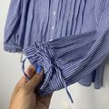 Alex Mill Blue White Pleated Ruffle In Striped. Cotton Voile Blouse Size 8 (M) Alex Mill Blue White Pleated Ruffle In Striped. Cotton Voile Blouse Size 8 (M) Image 10