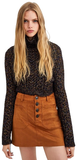 Item - Camel Trf Faux Suede High Waisted Button Up Skirt Size 8 (M, 29, 30)