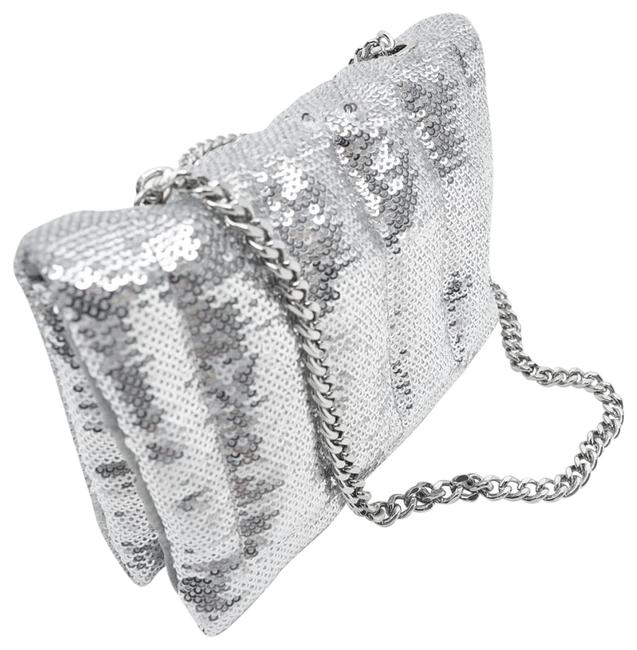 Item - Quilted Sequined Mini Silver Polyester Cross Body Bag