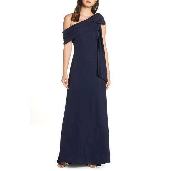 Item - Midnight Blue One Shoulder Crepe Long Night Out Dress Size 00 (XXS)