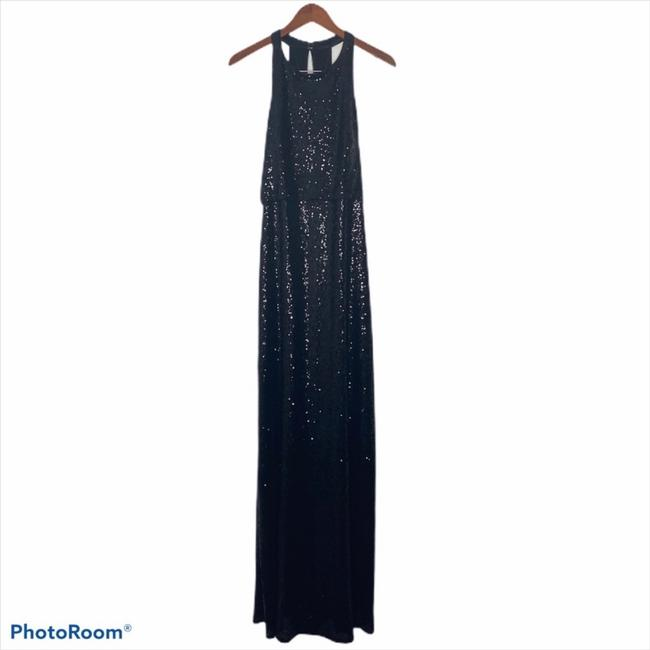 Item - Black Rayon Tulle Sloane Sequin Halter Gown Formal Bridesmaid/Mob Dress Size 10 (M)