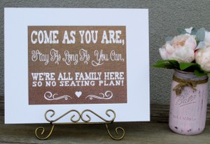 Rustic Burlap Look Wedding Sign-white Wood Frame-come As You Are Stay As Long As You Can