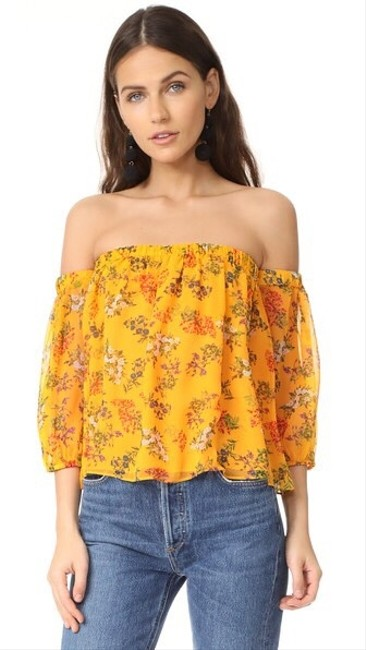 Item - Yellow Poetic Floral Off The Shoulder Silk Blouse Size 8 (M)