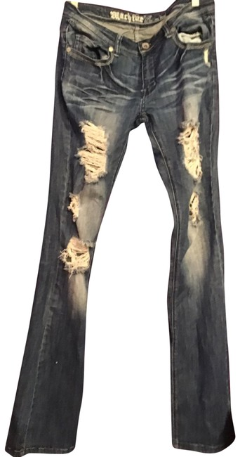 Item - Denim Distressed Boot Cut Jeans Size 12 (L, 32, 33)