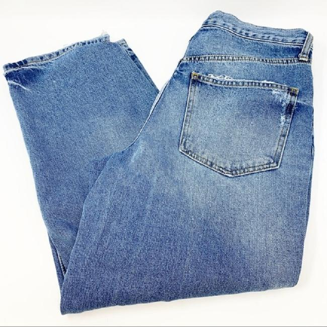 Free People Blue Distressed Extreme Washed Button Fly Boyfriend Cut Jeans Size 30 (6, M) Free People Blue Distressed Extreme Washed Button Fly Boyfriend Cut Jeans Size 30 (6, M) Image 3
