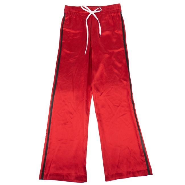 Item - Red Silk Leather Stripes Wide Leg Track Pants Size 8 (M, 29, 30)