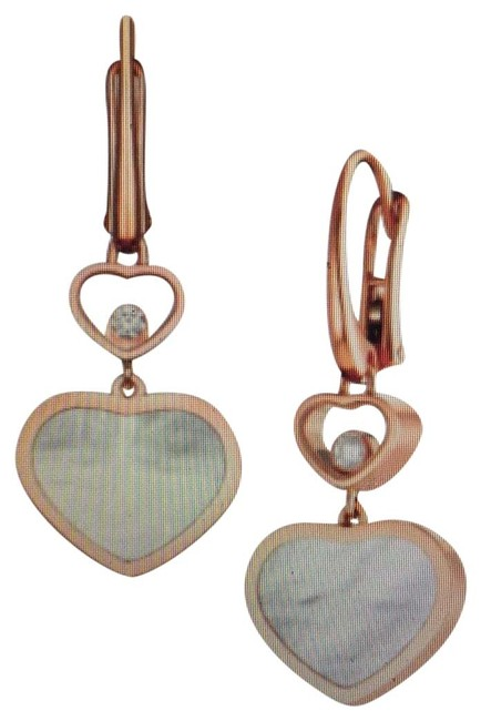 Item - Turquoise Black Mother Of Pearl Red Gold Small Heart with Floating Austrian Crystal Necklace