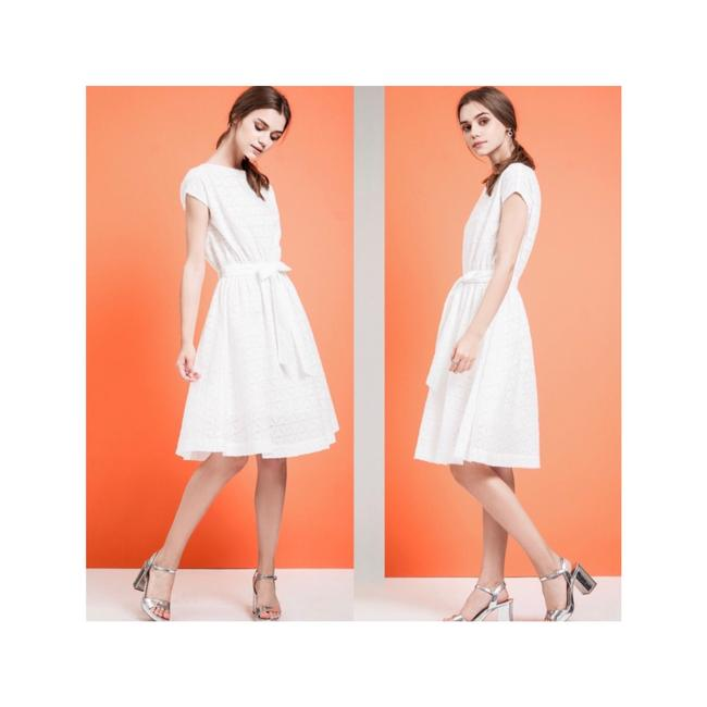 Item - White Los Angeles Tie Waist Small Mid-length Cocktail Dress Size 4 (S)