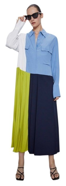 Item - Blue Patchwork Pleated Long Casual Maxi Dress Size 2 (XS)