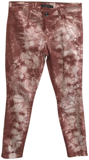 Item - Red Dark Rinse Tie Dye Effect Capri/Cropped Jeans Size 27 (4, S)