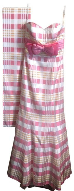 Item - Pink Orange White Striped Long Formal Dress Size 8 (M)
