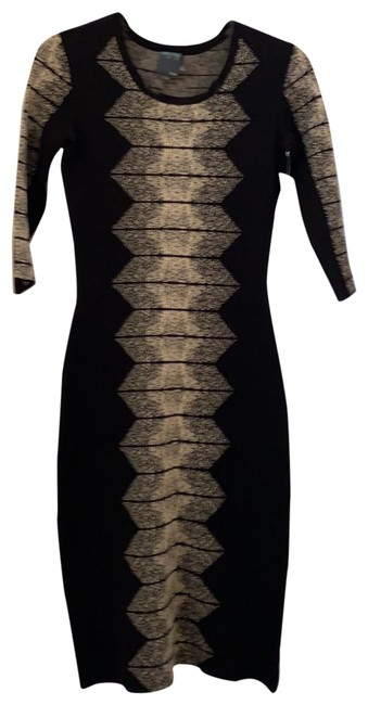 Item - Black and White Mid-length Work/Office Dress Size 6 (S)