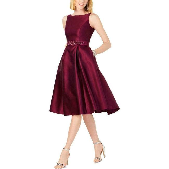 Item - Amethyst Womens Mikado Embellished Belted Event Party Mid-length Cocktail Dress Size 4 (S)