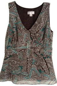 Ann Taylor LOFT Top brown & turquoise