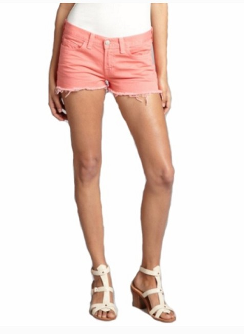 Item - Salmon/Coral Coral/Salmon Colored Fringed Jean/Denim Shorts Size 4 (S, 27)