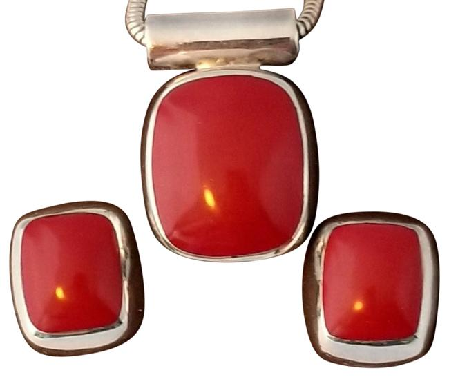 Item - Brown Taxco Red Jasper Pendant Earrings 3pc 925 Sterling Silver Necklace