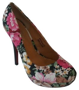 Marilyn Moda Floral Multi Pink Black Multi Black Pumps
