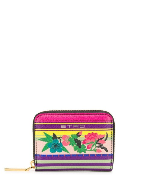 Item - Multicolor Zipped Purse with Floral Print Wallet
