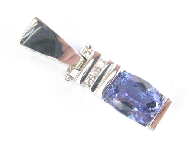 Item - White Gold Natural Oval Tanzanite & Diamond Solid Pedant 14kt