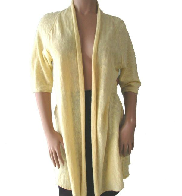 Item - Butter Yellow 3/4 Sleeve Linen Cotton Cardigan Size 8 (M)