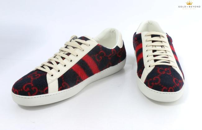 Item - Blue/Red Men's Ace Sneaker with Monogrammed 'gg' Wool Shoes