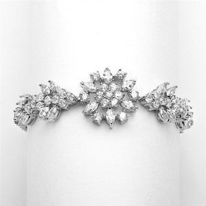 Silver/Rhodium Luxe Marquise Crystals Couture Bracelet