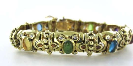 morningstars jewelers 14kt yellow gold multicolor vintage bracelet diamond antique