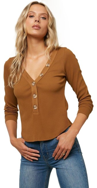 Item - Gold Coast Riell Ribbed Long Sleeve Button-down Top Size 4 (S)