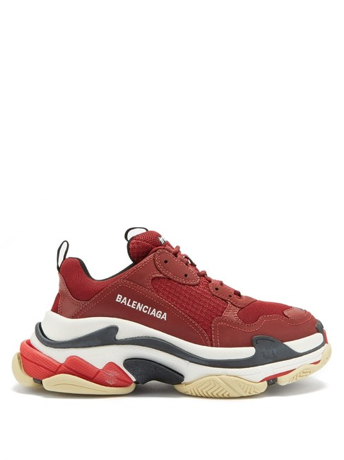 Item - Burgundy Mf Triple S Leather and Mesh Trainers Sneakers Size EU 38 (Approx. US 8) Regular (M, B)