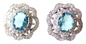 Other Gorgeous London Blue Topaz, White CZ Ladies Silver Earrings